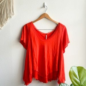 Free People Short Sleeve Top Bright Red Sz S